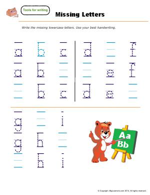 Preview image for worksheet with title Missing Letters