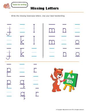 Preview image for worksheet with title Missing Letters - ( j - r )