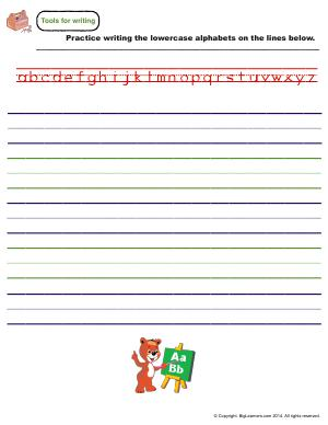Preview image for worksheet with title Tools for Writing - Lowercase Letters