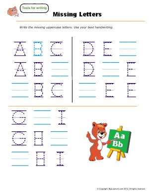 Preview image for worksheet with title Missing Letters - ( A - I )