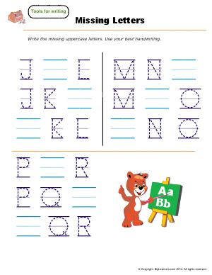 Preview image for worksheet with title Missing Letters ( J - R )