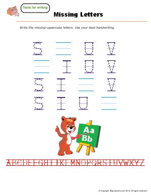 Preview image for worksheet with title Missing Letters ( S - U )