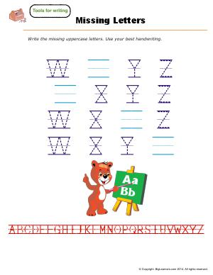 Preview image for worksheet with title Missing Letters ( W - Z )