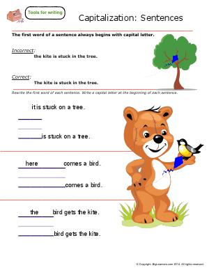 Preview image for worksheet with title Capitalization : Sentences