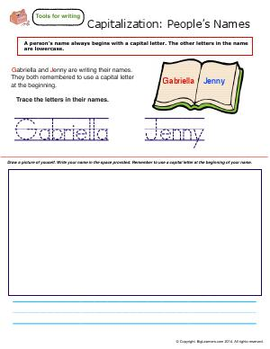 Preview image for worksheet with title Capitalization : People's Names