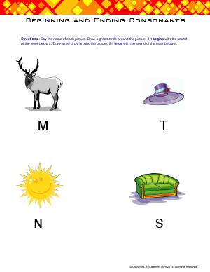 Preview image for worksheet with title Beginning and Ending Consonants