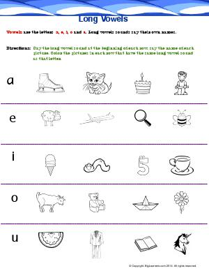 Preview image for worksheet with title Long Vowels (a, e, i, o , u)