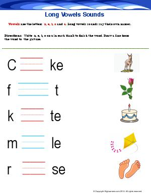 Preview image for worksheet with title Long Vowel Sounds