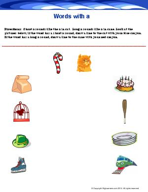 Preview image for worksheet with title Words With a