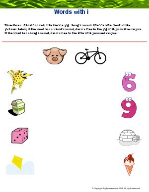 "Preview image for worksheet with title Words With ""Ii"""