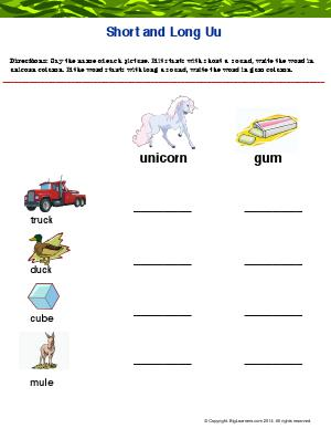 "Preview image for worksheet with title Short and Long ""Uu"""