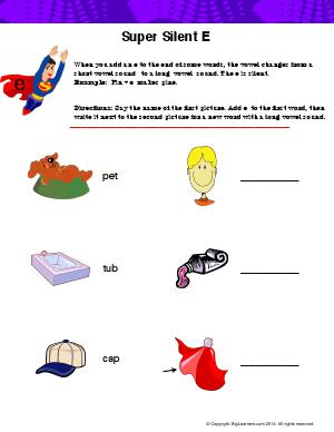Preview image for worksheet with title Super Silent e