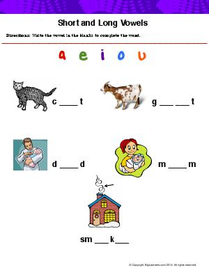 Preview image for worksheet with title Short and Long vowels