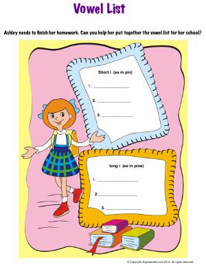 Preview image for worksheet with title Vowel List