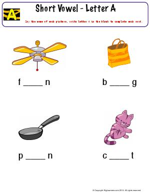 Preview image for worksheet with title Short Vowel - Letter A