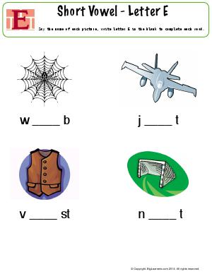 Preview image for worksheet with title Short Vowel - Letter E