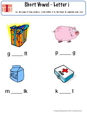 Preview image for worksheet with title Short Vowel - Letter I