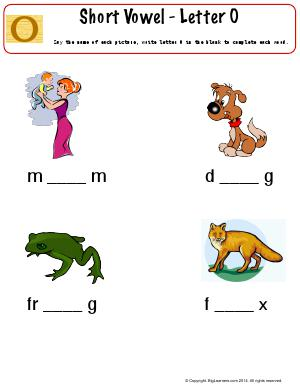 Preview image for worksheet with title Short Vowel - Letter O