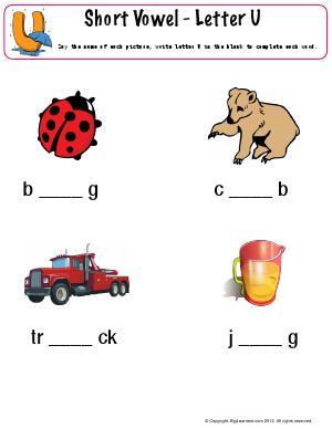 Preview image for worksheet with title Short Vowel - letter U