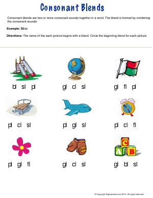 Preview image for worksheet with title Consonant Blends