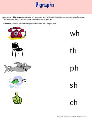 Preview image for worksheet with title Digraphs
