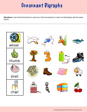 Preview image for worksheet with title Consonant Digraph
