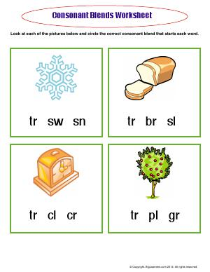 Preview image for worksheet with title Consonant Blends Worksheet