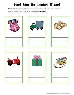 Preview image for worksheet with title Find the Beginning Blend (tr, dr, pr)