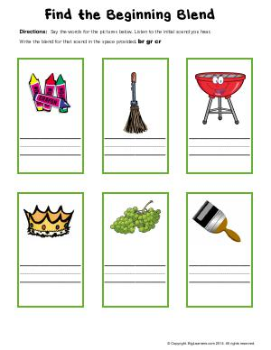 Preview image for worksheet with title Find the Beginning Blend (cr, br, gr)