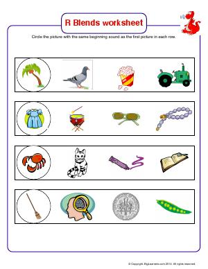 Preview image for worksheet with title R Blends Worksheet (tr, cr, br, dr)