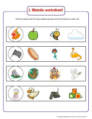 Preview image for worksheet with title L Blends Worksheet (cl, fl, sl, bl)