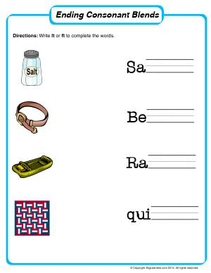 Preview image for worksheet with title Ending Consonant Blends Worksheet