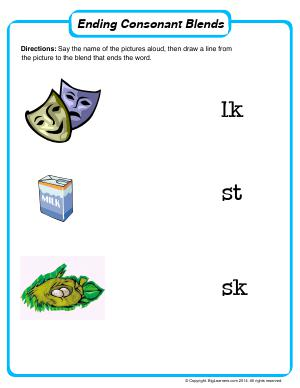 Preview image for worksheet with title Ending Consonant Blends