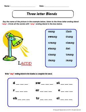 "Preview image for worksheet with title Three Letter Blends - ""amp"""