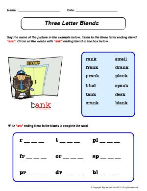 "Preview image for worksheet with title Three Letter Blends - ""ank"""