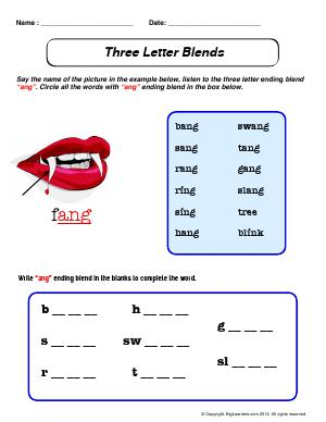 "Preview image for worksheet with title Three Letter Blends - ""ang"""
