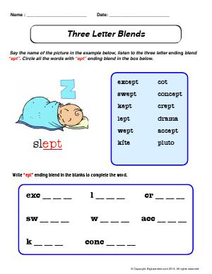 Preview image for worksheet with title Three Letter Blends