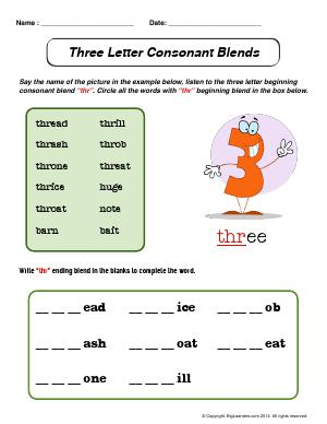 Preview image for worksheet with title Three Letter Consonant Blends (Beginning)