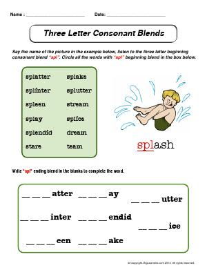 Preview image for worksheet with title Three Letter Consonant Blends