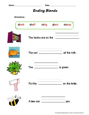 Preview image for worksheet with title Ending Blends