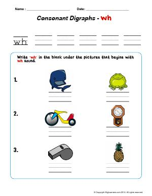 "Preview image for worksheet with title Consonant Digraphs - ""wh"""