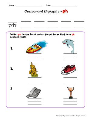 "Preview image for worksheet with title Consonant Digraph - ""ph"""