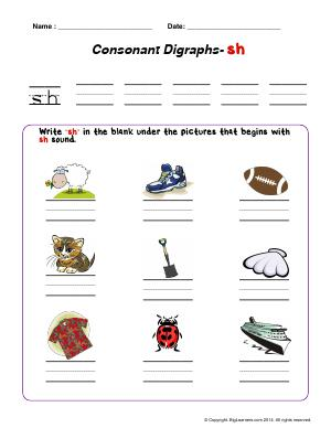Preview image for worksheet with title Consonant Digraphs - sh