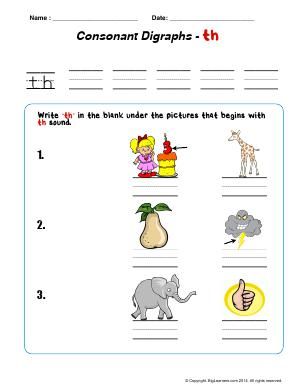 Preview image for worksheet with title Consonant Digraphs - th