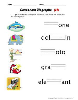 Preview image for worksheet with title Consonant Digraphs - ph