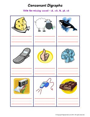 Preview image for worksheet with title Consonant Digraphs (sh, wh, th, ph, ch)