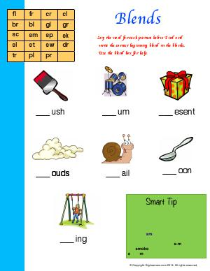 Preview image for worksheet with title Blends