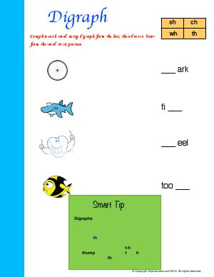 Preview image for worksheet with title Digraph (sh, ch, wh, th)