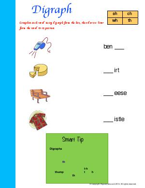 Preview image for worksheet with title Digraph