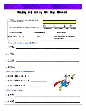 Preview image for worksheet with title Reading and Writing Four Digit Numbers